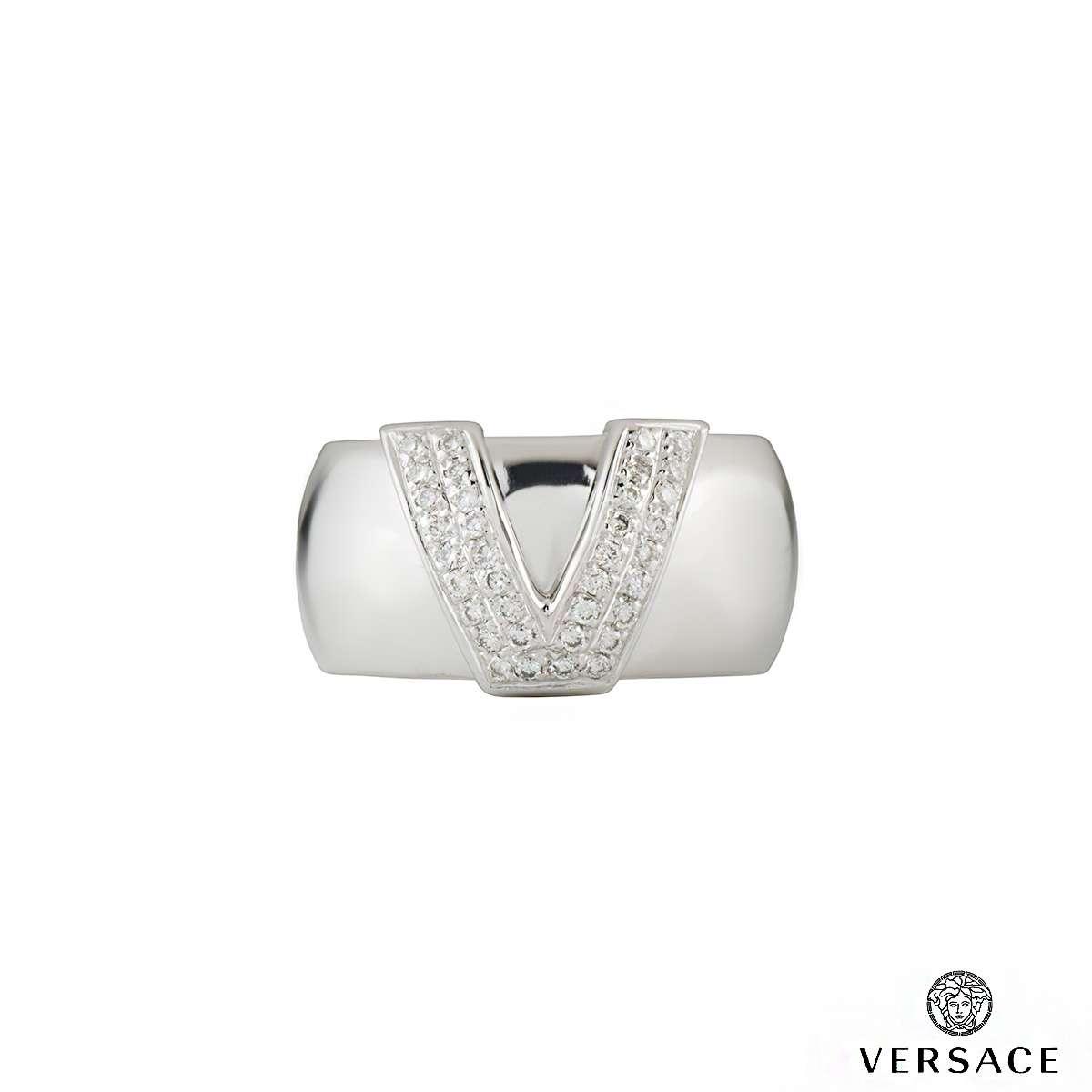 Versace 18k White Gold Ring